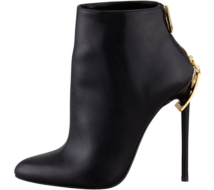Golden Metal Zipper Decor Woman Ankle Boots Thin Heel Black Leather Short Boots 2018 Spring Autumn Fashion Shoes Size 10  Golden Metal Zipper Decor Woman Ankle Boots Thin Heel Black Leather Short Boots 2018 Spring Autumn Fashion Shoes Size 10