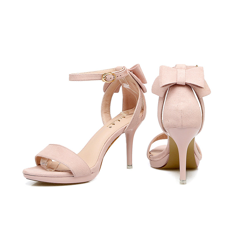 Women's Shoes Platform Sandals Nude-Color High-Heeled-Shoes Female Buckle with Bow Waterproof