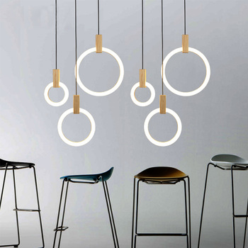 Nordic Wood LED Pendant Lamp Ring Circle Acrylic Hanging Lamp Creative Stairs Bedroom Art Decor Modern Wooden Pendant Light