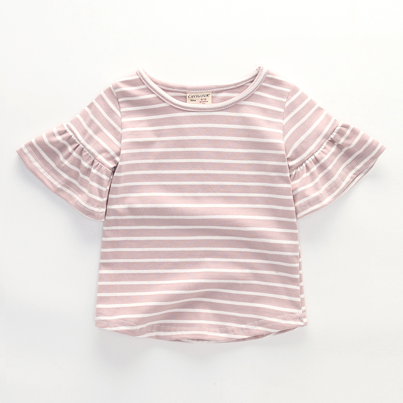 Summer cotton kids baby girls short sleeve t shirts striped tops for toddler girl pagoda sleeve tees children clothes