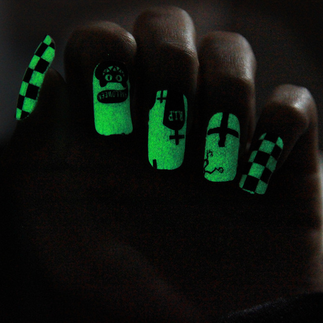 Hot Fluorescent Neon Luminous Nail art sticker , 6sheets/lot ...