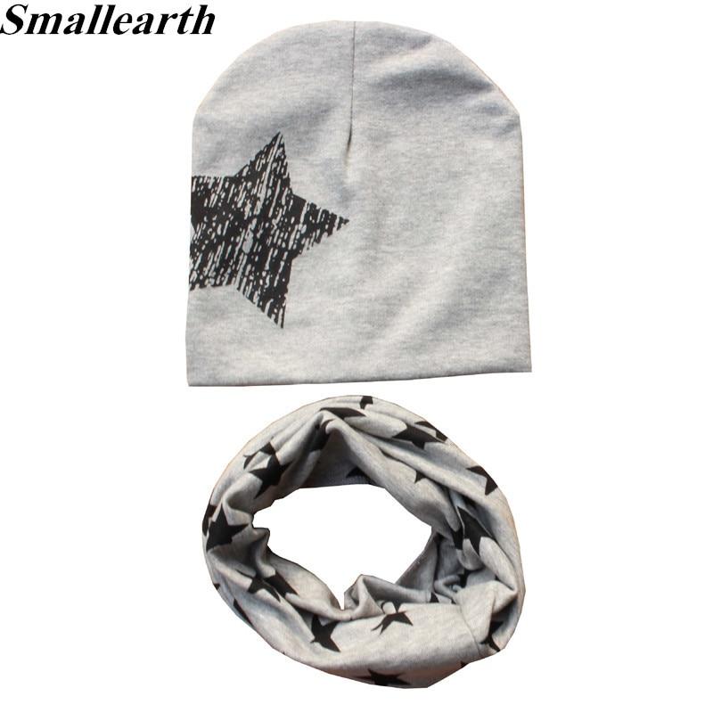 2Pcs/Set Cotton Baby Hat Scarf Spring Star Print Children Caps Scarves Boys Girls Warm Beanie Collar Set Autumn Children Hat Set