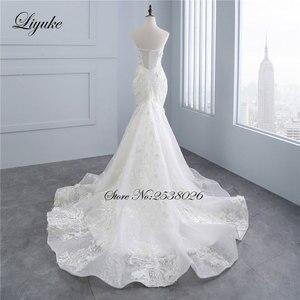"""Image 4 - Liyuke высокое качество цветочный принт свадебное платье в стиле """"Русалка"""" Аппликация из кружева, вышитая бисером жемчужина ручная работа Элегантное свадебное платье с открытыми плечами"""