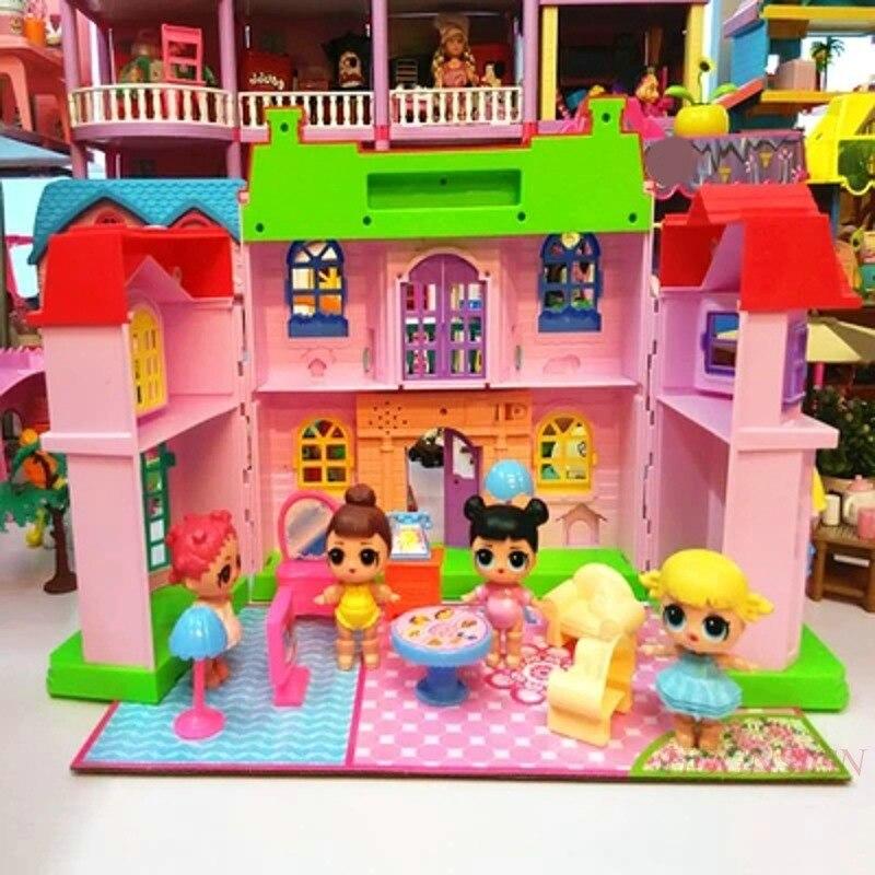 Casa de bonecas em miniatura presente brinquedos villa casa feliz família tema princesa casa quarto brinquedo terno conjunto kits móveis menina criança boneca