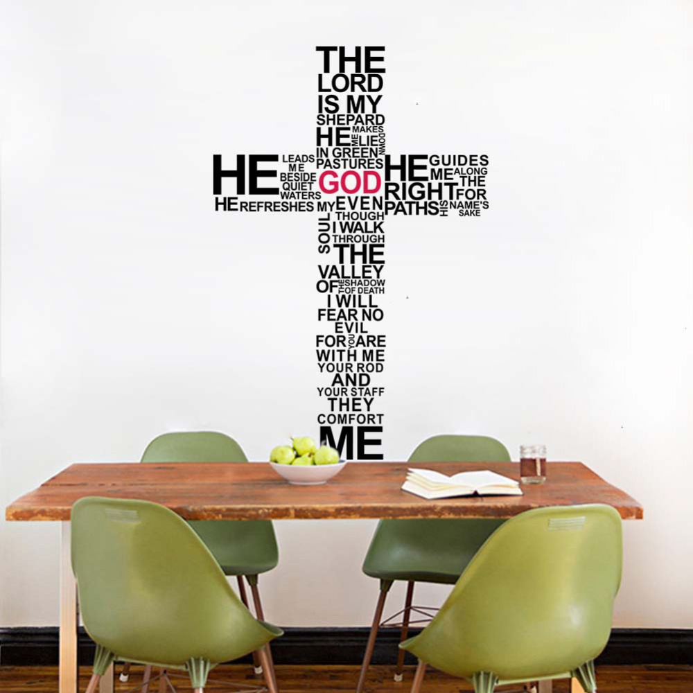 Christian Religious Cross Vinyl Quote Wall Decal Home Decor GOD Art StickersChina