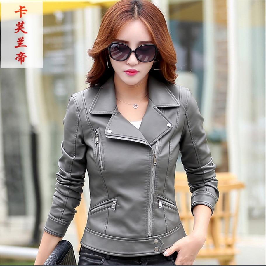 2019 Autumn New Fashion Plus Size Turn Collar Ladies Outerwear   Leather   Jackets for Women Jaqueta De Couro Female Jacket Coat