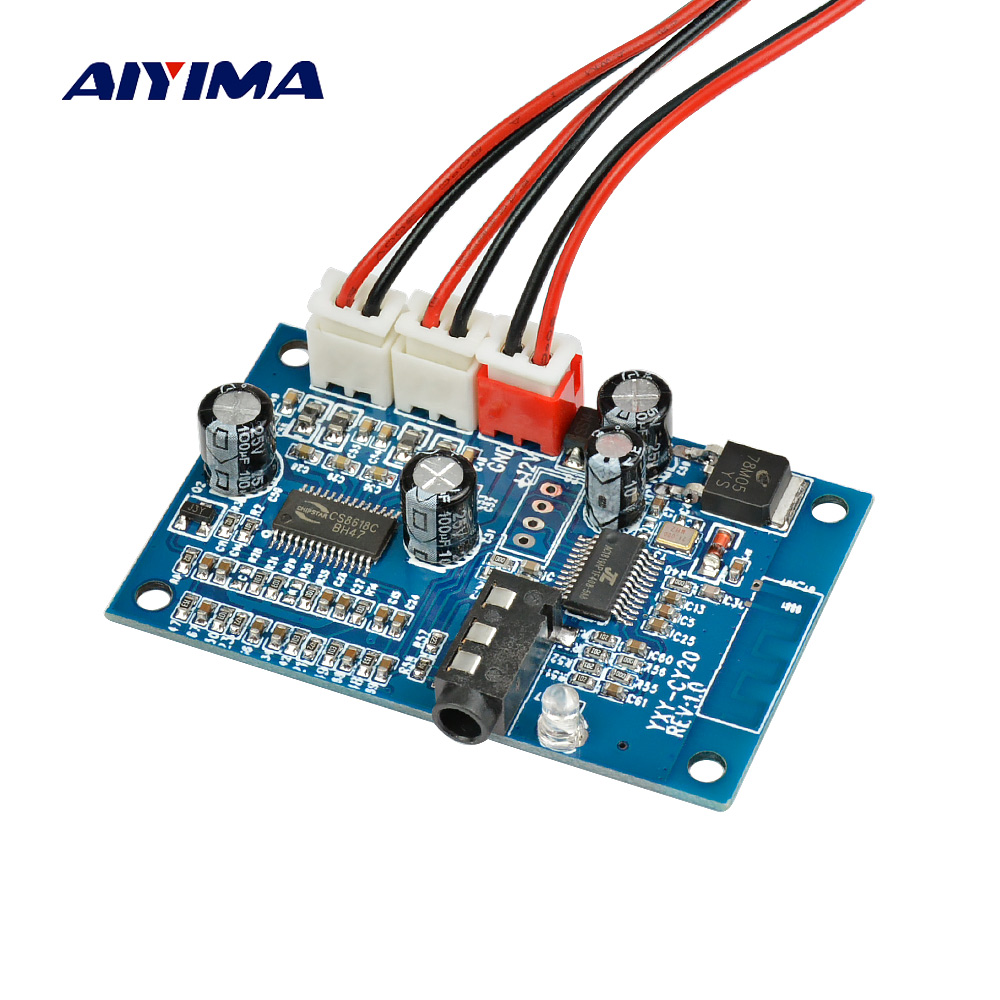 Aiyima 15W*2 Bluetooth 4.2 Amplifier Audio Board Stereo Two Channel Amplificador AUX Wireless Bluetooth Receiving Modification aiyima 12v tda7297 audio amplifier board amplificador class ab stereo dual channel amplifier board 15w 15w