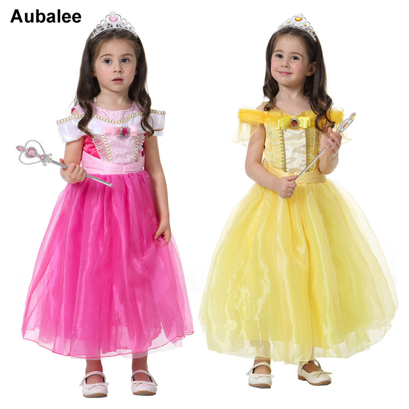 2017 Cute Girls Pink Sleeping Beauty Aurora/ Yellow Beauty And The Beast Bella Princess Dress Kids Child Christmas Party Dress