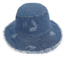 5ccbc1d3 Summer Washed Denim Sun Hat Women Fashion Tassel Floppy Cap Ladies Wide  Brim Beach Bucket Hats