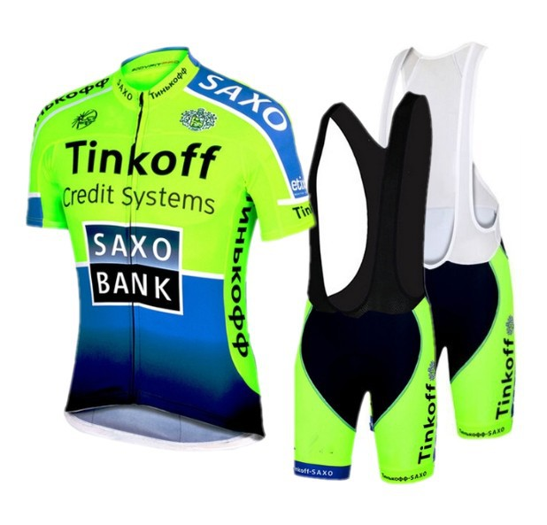 ФОТО 2016 saxo bank tinkoff Team fluorescence green cycling jersey short sleeve Ropa Ciclismo bicicletas maillot ciclismo