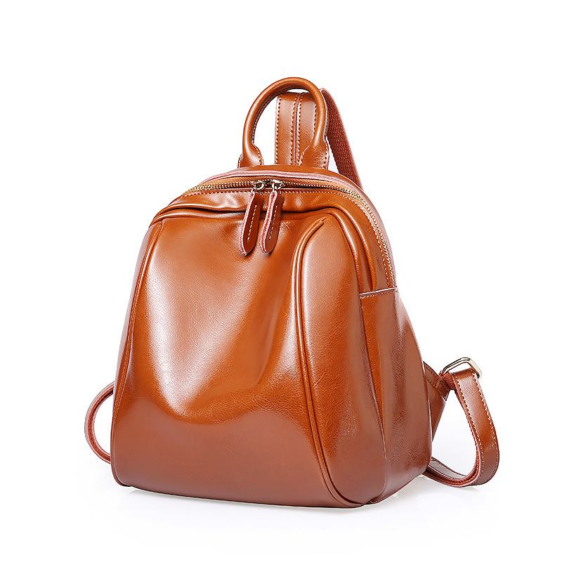Luxury Shining Oil Wax Cow Leather Women Backpacks Small casual Women's Travel Bags Simple style Genuine Leather Women Backpack luxury oil wax genuine cow leather women backpack small women s travel bags multifunction korean fashion women shoulder bags