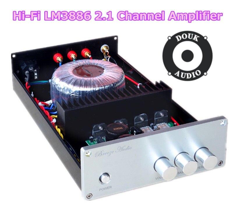 Douk Audio Hi-Fi LM3886 2.1 Channel Subwoofer Digital Amplifier Stereo Power Amp feixiang fx1002a 2 x 160w 2 channel digital hi fi amplifier set silver black