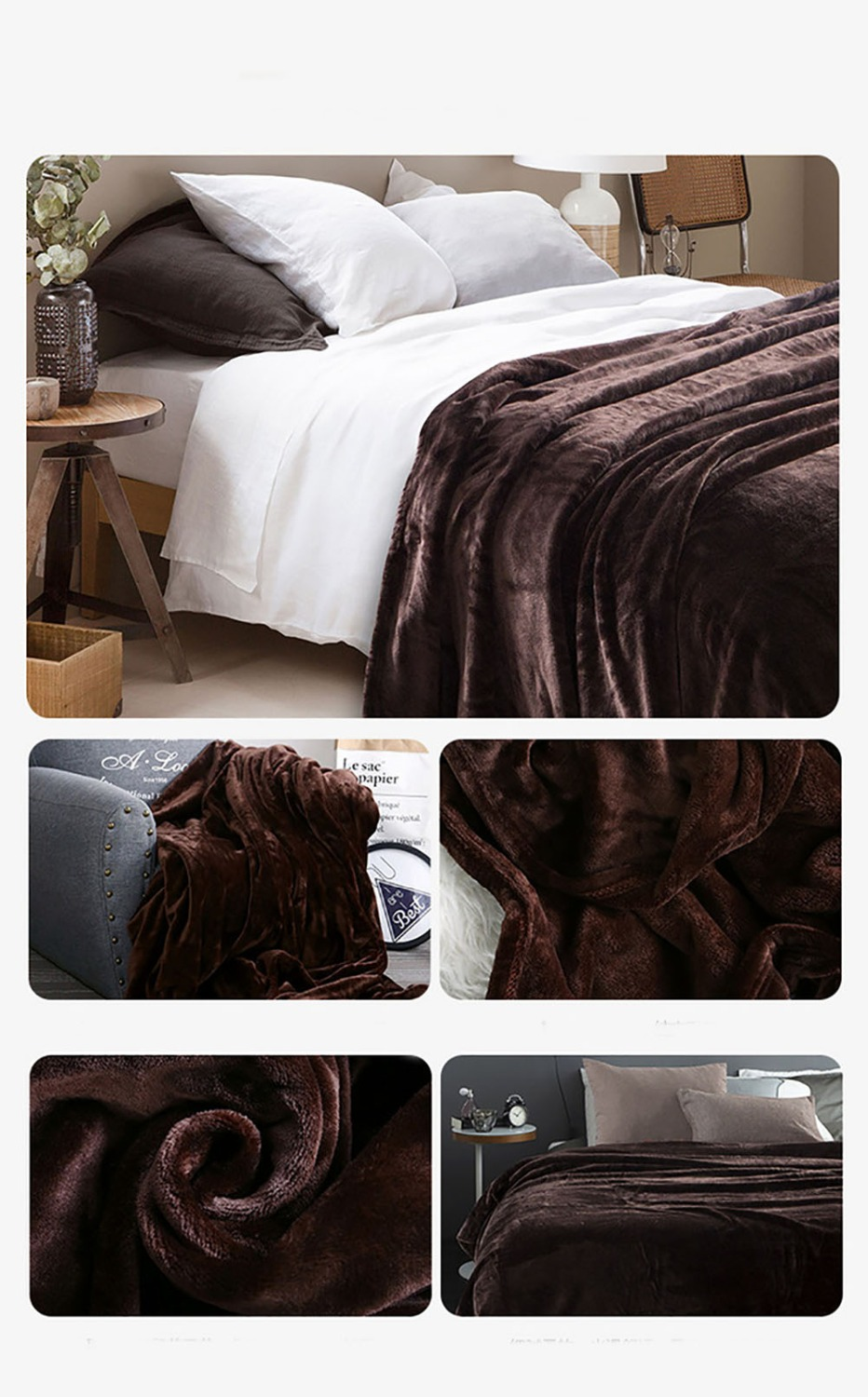 Image 2 - Super Soft Solid Color Coral Fleece Blanket Warm Sofa Cover Twin Queen Size Fluffy Flannel Plane Blankets 200*230cm-in Blankets from Home & Garden