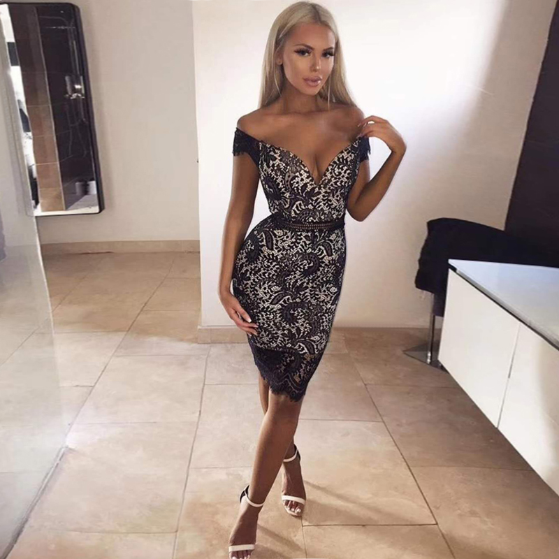 <font><b>Fashion</b></font> Off Shoulder Bandage <font><b>Dress</b></font> <font><b>2018</b></font> <font><b>New</b></font> Style Black <font><b>White</b></font> Strapless <font><b>Backless</b></font> Elegant Lace Night Out Party <font><b>Dresses</b></font> Vestidos image