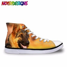 Купить с кэшбэком High Top Casual Shoes Woman 3D German Shepherd Dog Printed Canvas Shoes for Women Lace-up Flats Ladies Vulcanized Shoes Mujer