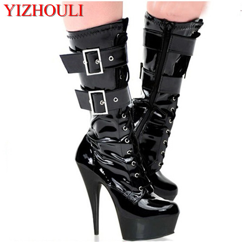 15cm sexy ladies Fashion buckle PU leather knee high boots winter 6 inch platform high heel boots for women Fetish Dance Shoes sexy clubbing pole dancing knee high boots 6 inch high heel shoes winter fashion sexy warm long 15cm zip platform women boots