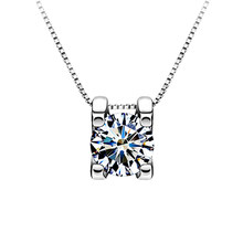 Jewelry 1pc Hot Short Clavicle Square Zircon Crystal Choker Inlaid Silver Necklace Jewelry Crystal Chain(China)
