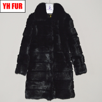 New Luxury Brand Genuine Real Rabbit Fur Jacket Women Long Style Rabbit Fur Coat Real Fox Fur Collar Real Rabbit Fur Overcoats
