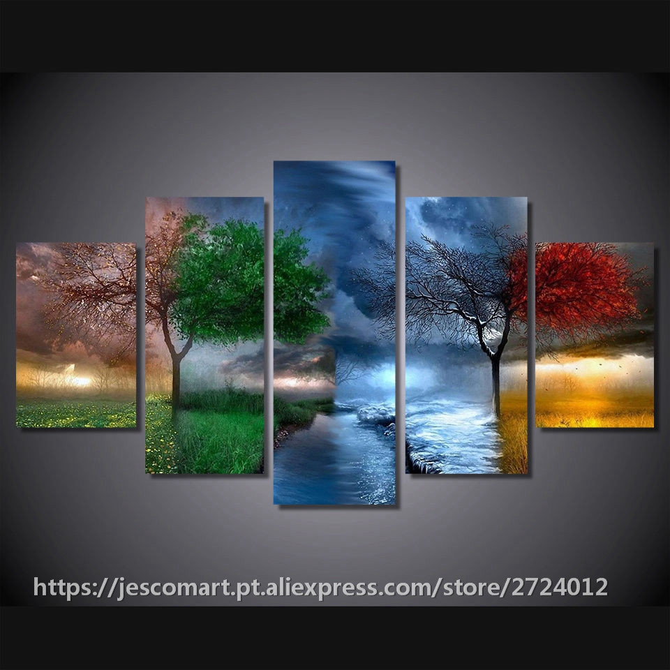 5Piece Wall Painting Scenery Four Seasons Trees Painting
