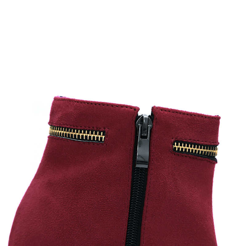 Kadın çizmeler siyah kırmızı bayanlar sonbahar kış çizmeler akın fermuar platformu süper yüksek yarım çizmeler düğün ayakkabı boyutu 31-43