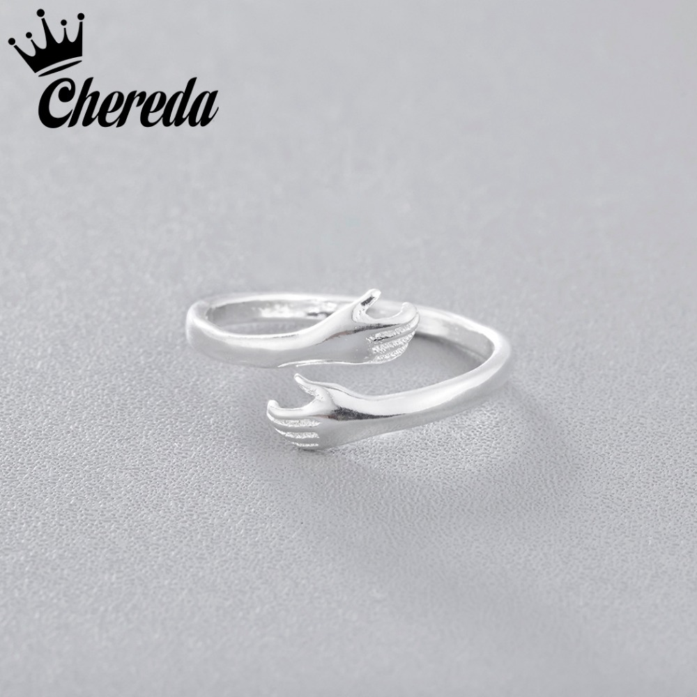 Chereda Hands Ring Like Hold Finger Jewelry Give You Warm Party Lover Punk Accessories