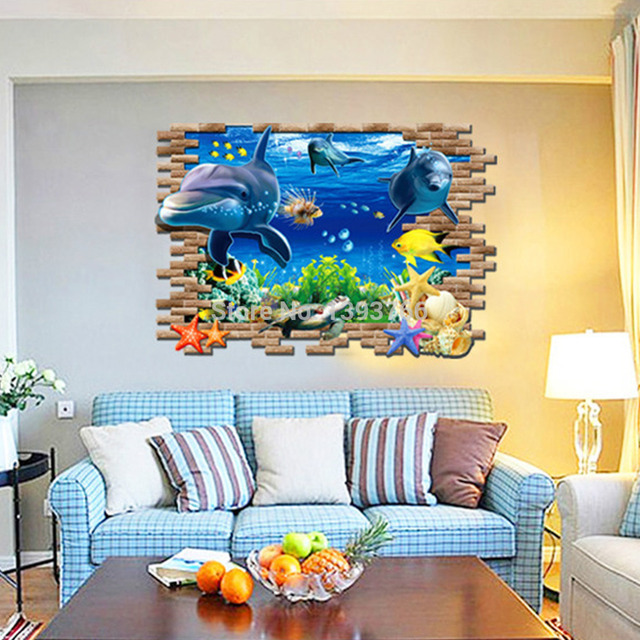 Buy 3d fish seabed living room wall for 3d wallpaper for baby room