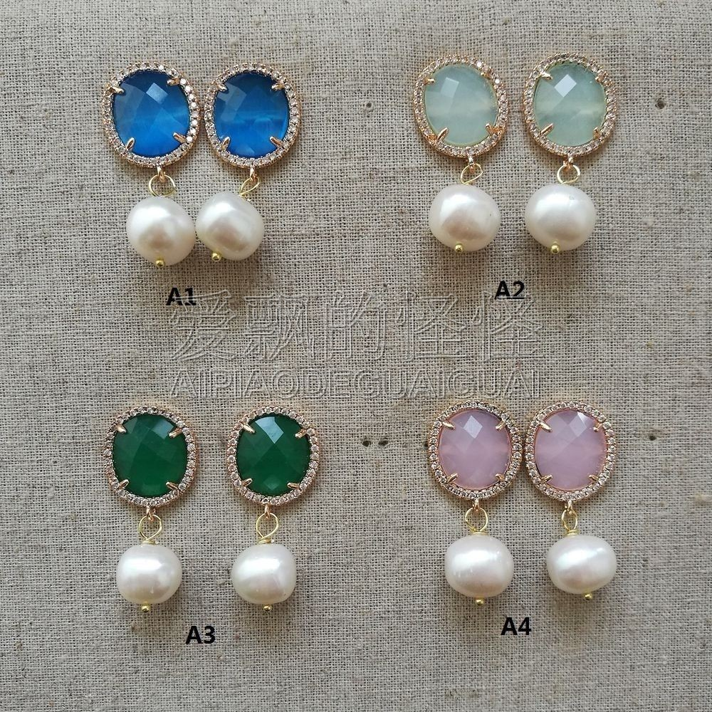где купить White Pearl Green Pink Deep Blue Aqua Blue Cat Eye Earrings дешево