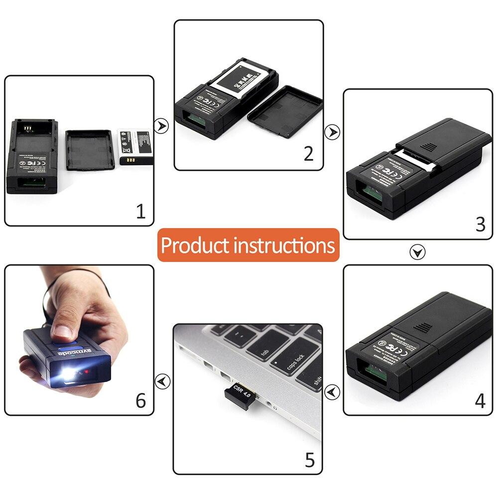 Symcode 1D 2D Bluetooth Barcode Scanner 1D 2D USB Bluetooth 2.4GHz Wireless Barcode Reader Wireless Transfer Distance 100 Meters