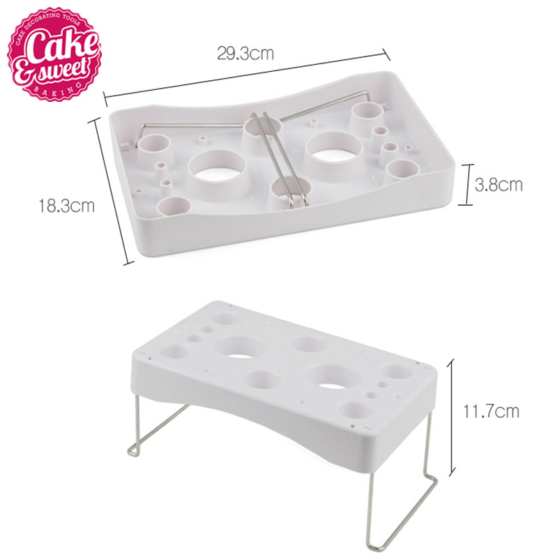 Plastic Durable Rectangle Fondant Cake Icing Piping Bags Nozzle Tips Bags Stand Holder Shelf Cream Work Table Holder Free Sh in Other Cake Tools from Home Garden