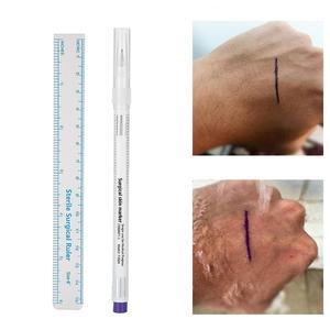 Image 3 - 1 pièces marqueur de peau chirurgical marqueur de sourcil stylo marqueur de peau de tatouage avec règle de mesure Microblading positionnement outil de tatouage