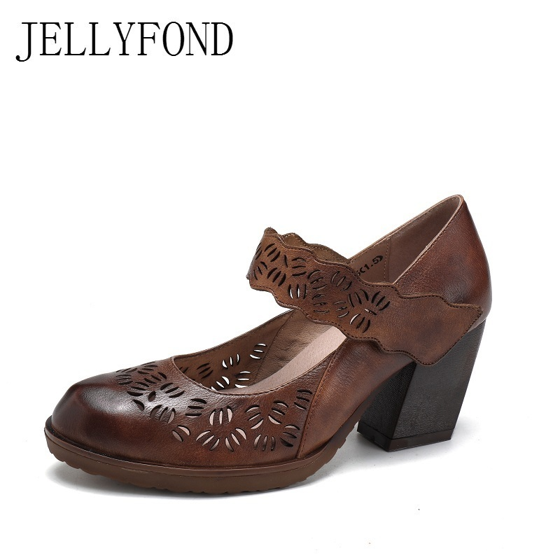 Genuine Leather Cuts Out Platform High Heels Shoes Woman 2018 Vintage Style Cowhide Designer Mary Janes Pumps