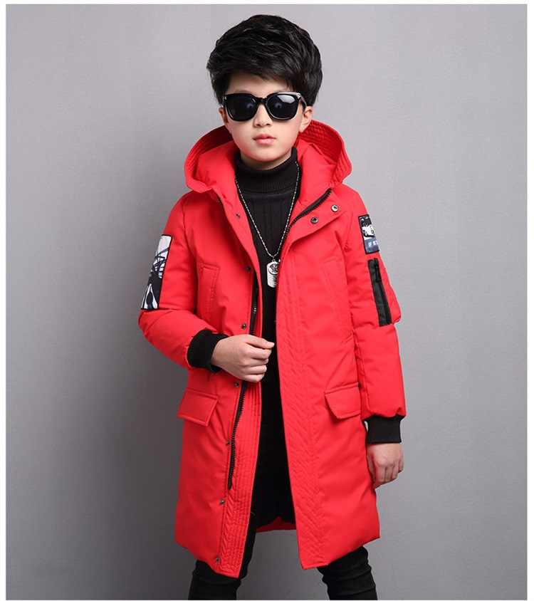 Niños abrigo de invierno 2018 de piel con capucha niños chaquetas niños grandes Parka edad 5-14 años espesar una cálida de invierno niños traje
