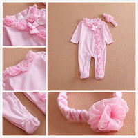 2pcs set !!! newborn baby girls 0~7M long sleeve cotton romper headband clothes outfits set pink