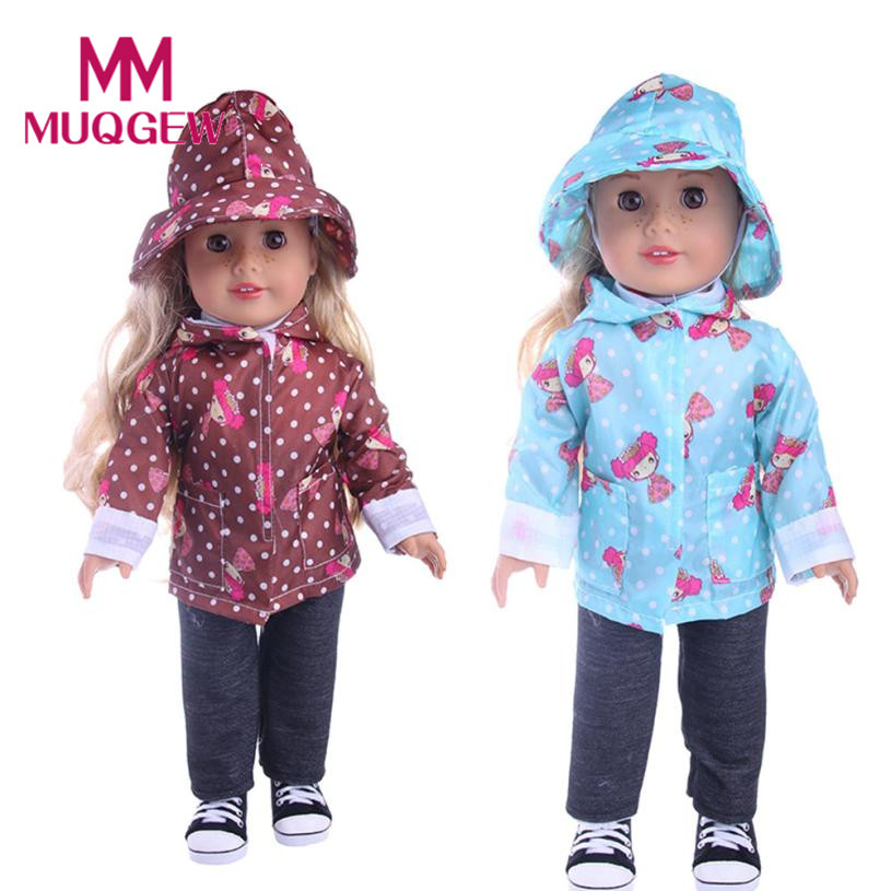 Drop ship DIY Doll Raincoat 3-Piece Suit For 18 inch Doll Baby Kids Gifts Party Clothes 18 inch doll accessories jogo americano