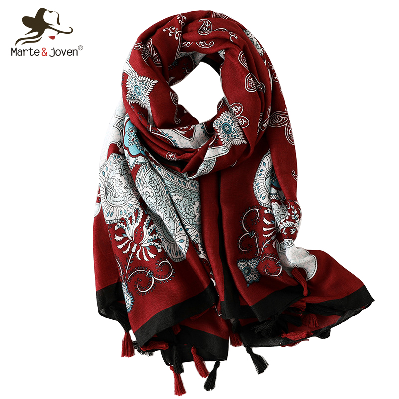 Marte&Joven Ethnic Style Paisley Print Tassel Long   Scarf   Stoles for Women Soft Autumn Winter Warm Shawl   Wrap   Retro Ladies Hijab