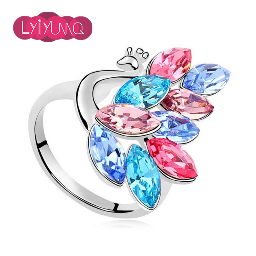 Fine Jewelry Fashion Animal Cute Cocktail Ring For Girls Party Peacock Pink Austria Crystal Rings For Women