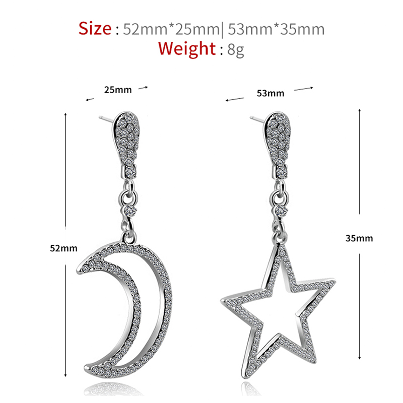 2017 Fashion Shining Small Rhinestone Dangle Earrings Silver Star Moon Long Drop Earrings for Women EX044