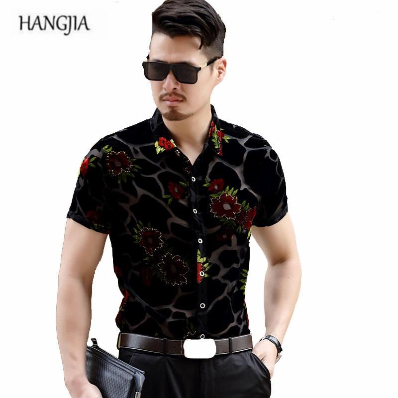 Velvet Floral Shirts Men Summer High-grade 2018 Men s New Hollow Printed  Short-sleeved 0b8f6dd973af