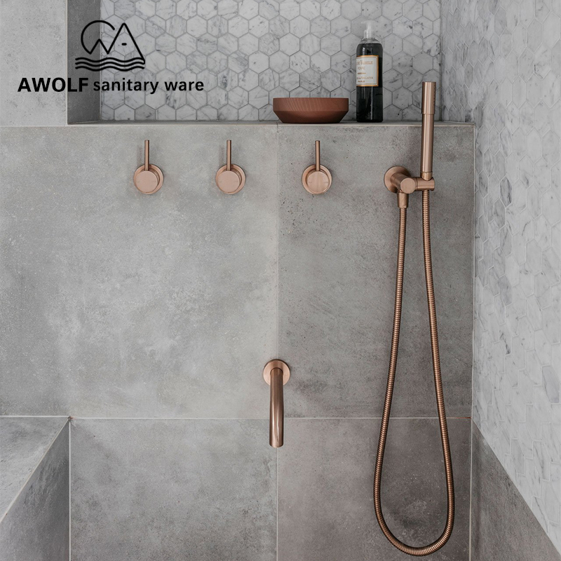 Bathroom Shower Set Brushed Rose Gold Simplicity Solid Brass 8 Shower Head Faucet Mixer Tap Shower