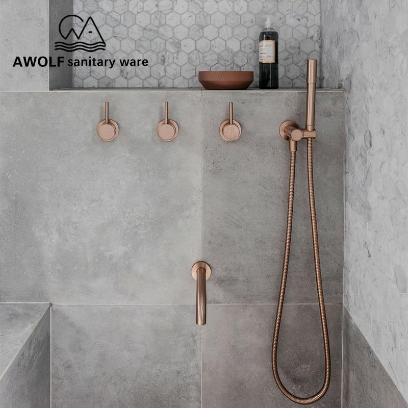 Bathroom Shower Set Brushed Rose Gold Simplicity Solid Brass 8 Shower Head Faucet Mixer Tap Shower