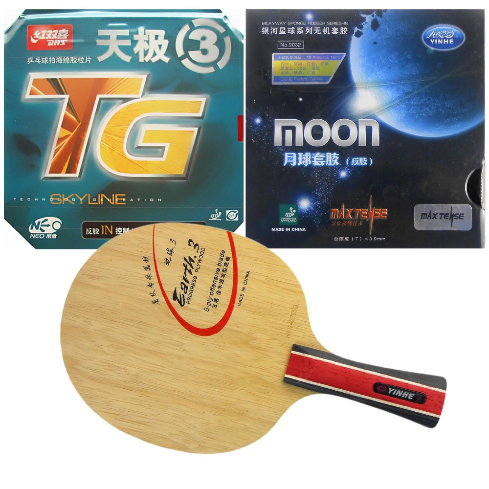 Galaxy YINHE Earth.3 blade with Moon (Factory Tuned)/ DHS NEO Skyline TG3 Rubbers for a Racket Shakehand long handle FL galaxy yinhe t 11 blade with moon factory tuned dhs neo hurricane 3 rubbers for a racket shakehand long handle fl