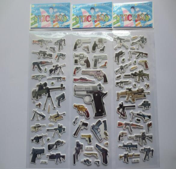 Mix 10Sheets 3D Gun Stickers Toys Funny Toy For Children Action Figure toys On Notebook Christmas Gifts