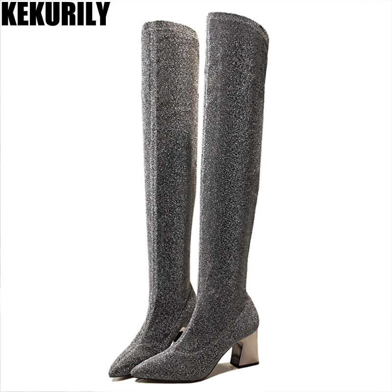 Woman Shoes Pointed toe Socks Boot Fashion Slip on Over the Knee Boots Metal High Heels Knights boot Zapatos mujer Black gray цена