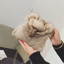 2016 Derniers modèles D'hiver Femmes chaîne Épaule Sacs Renard tête conception Sacs À Main De Fourrure De Lapin De Mode de Haute Qualité femmes Sac À Main
