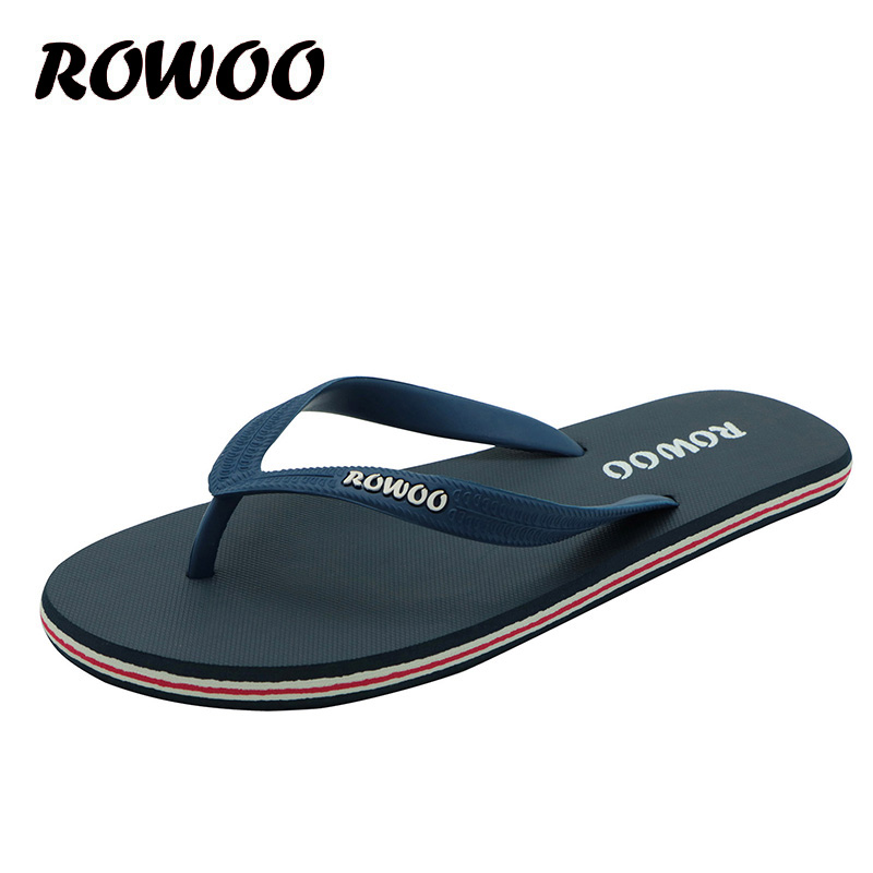 Hot Sale Sommer Gummi Sko Mote Flip Flops Menn Sandaler Mann Flat Beach Slippers Black Red Plus Størrelse 39 - 46