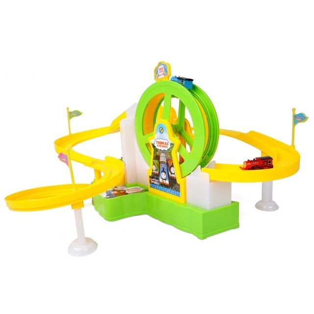 In Stock Thomas and friends Toy for Children Educational Music Light Ferris Wheel Slot Thomas the train Rail Track Car Kids Toys