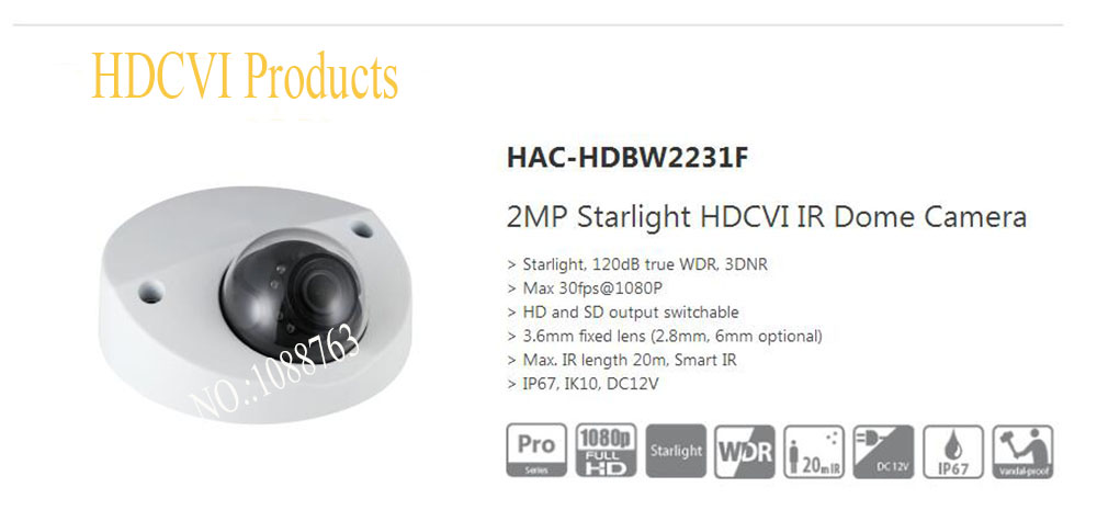 Free Shipping DAHUA 2MP Starlight HDCVI IR Dome Camera IP67 IK10 without Logo HAC-HDBW2231F 10pcs lot best price high quality laptop dc power jack dc jack for sony vaio vgn fz vgn nr vgn fw pcg series