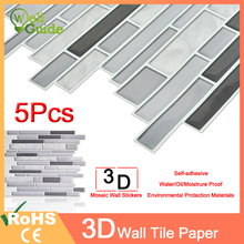 1PC/5PCS Wall paper 3D Black Grey Marble Brick Self-Adhesive Stickers Waterproof DIY Kitchen  Home Decal Sticker Vinyl