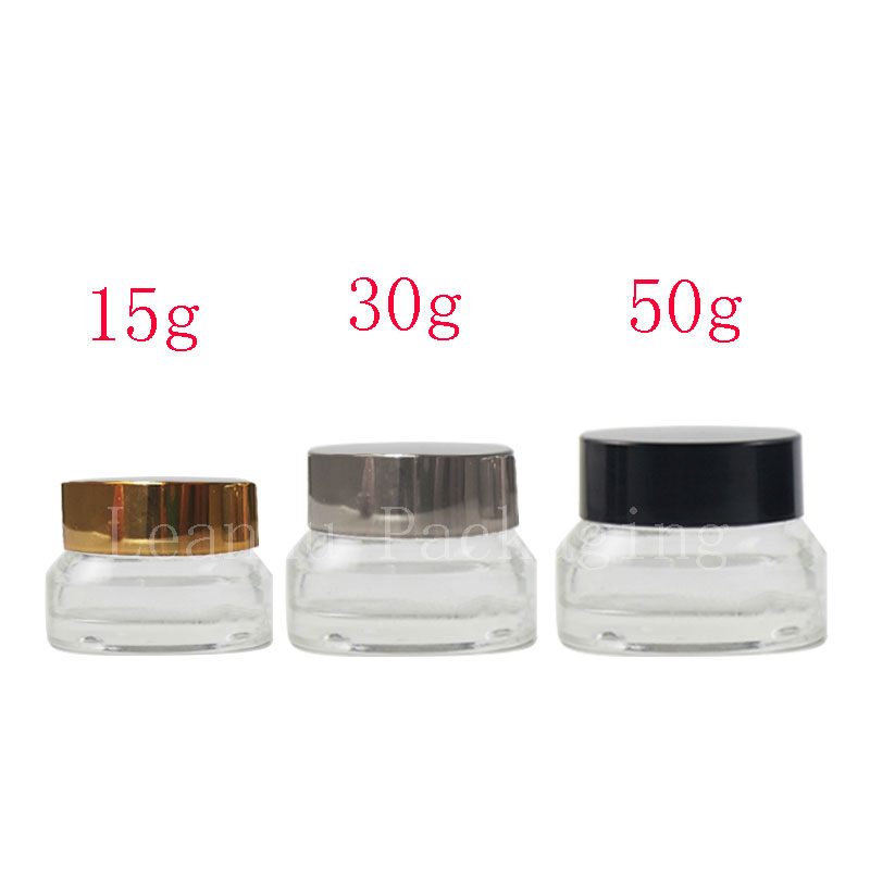 15g 30g 50g Empty Cosmetic Cream Glass Container With Screw Cap Face Cream Cosmetics Jar Makeup Transparent Glass Bottles Jars 10pcs 5g cosmetic empty jar pot eyeshadow makeup face cream container bottle acrylic for creams skin care products makeup tool