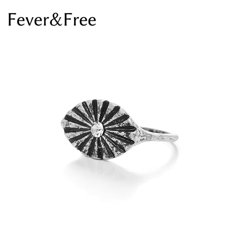 Fever&Free Vintage Rhinestone Flower Rings Oval Finger Rings Antique Gold/Silver Color Boho Single Ring Women Fashion Jewelry